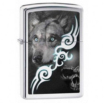 Wolf and Skull Zippo Lighter Personalised